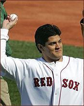 BOSTON - New England Patriots linebacker Tedy Bruschi threw out a  ceremonial first pitch at the Boston Red Sox  stats fd67adfd7